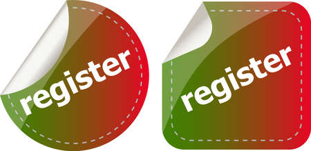 register stickers set, icon button isolated on white