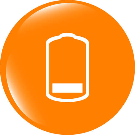 accumulator: Battery low level sign icon. Electricity symbol. Modern UI website button