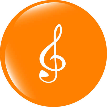 shiny buttons: music round glossy web icon on white background