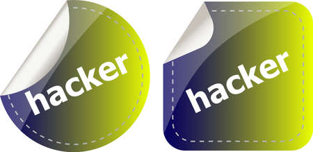 robbers: hacker stickers set on white, icon button isolated on white