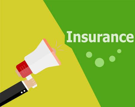 flat design business concept. Insurance digital marketing business man holding megaphone for website and promotion banners.