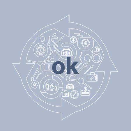 Text Ok. Social concept . Icon and button set Stock Photo