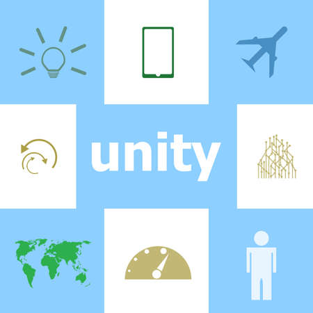 Text Unity. Social concept . Infographic Elements. Icon set Stock Photo
