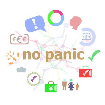 hysteria: Text No panic. Social concept . Set of line icons and word typography on background Stock Photo