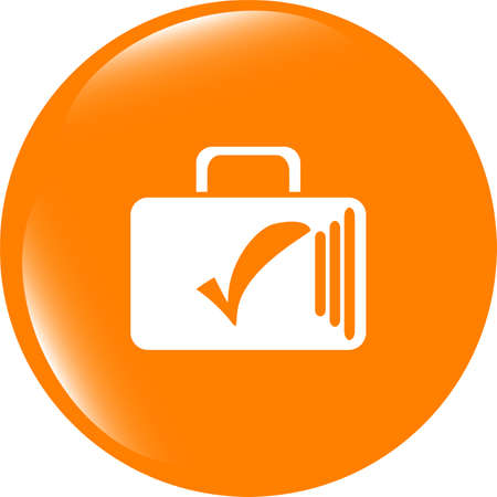 tick mark on business suitcase. web icon isolated on white background Stock Photo
