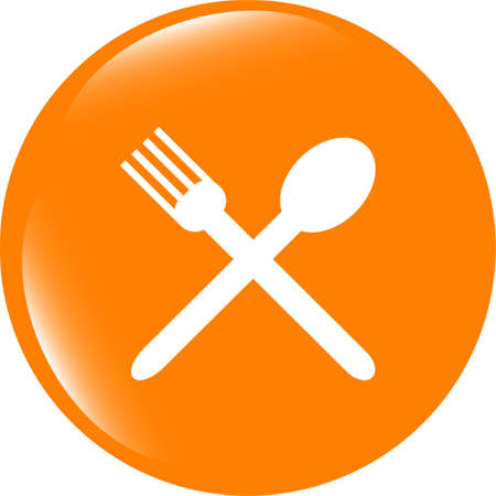 shiny buttons: web buttons food icon. spoon and fork restaurant banner