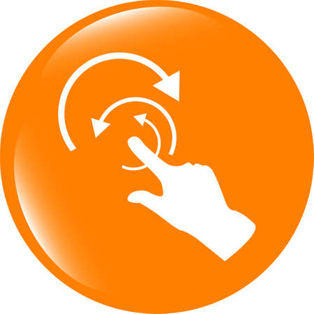 help section: Hand and abstract arrow web app button, web icon Stock Photo