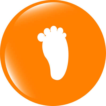 Footprint people circle web glossy button icon Stock Photo