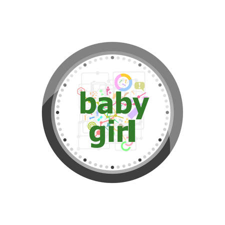 Baby girl text on digital touch screen. social concept . Set of modern flat design concept icons for internet marketing. Clock isolated on white background