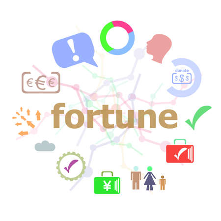 Text Fortune. Business concept . Set of line icons and word typography on background. Creative solution concept Stock Photo