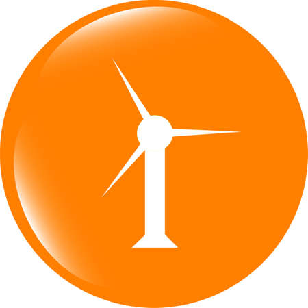 shiny buttons: wind turbine icon, web button isolated on white