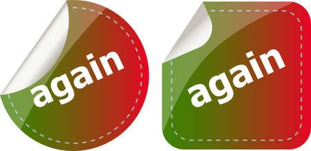 again word on stickers button set, label Stock Photo