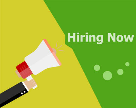 now hiring: flat design business concept. Hiring now. Digital marketing business man holding megaphone for website and promotion banners.