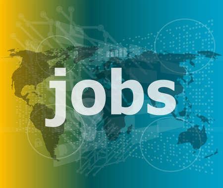 The word jobs on digital screen, social concept Stock Photo