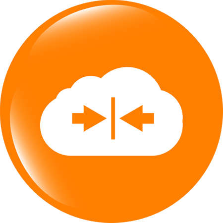 abstract cloud icon. Upload button. Load symbol. Round button Stock Photo