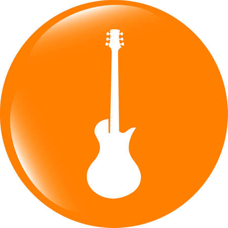 shiny buttons: Guitar icon button . Flat sign isolated on white background