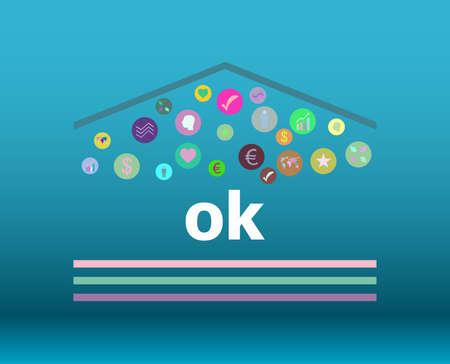 Text Ok. Social concept . Infographic Elements. Design Symbol