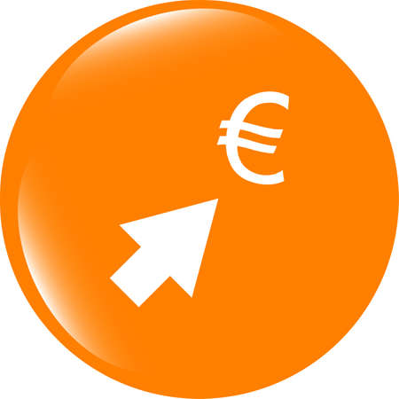 Currency exchange icons, euro money sign with arrows