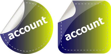 Account word, stickers set, icon button isolated on white 免版税图像