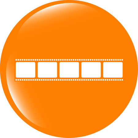 film strip icon glossy button . Trendy flat style sign isolated on white background