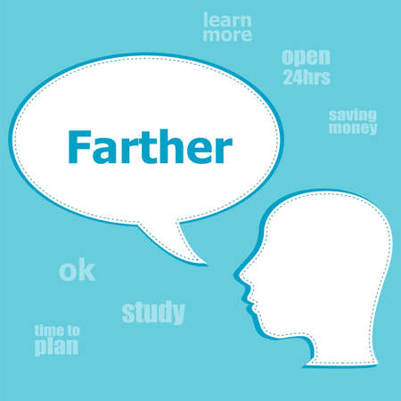 Text Father. Social concept . Silhouette of a head with speech bubble