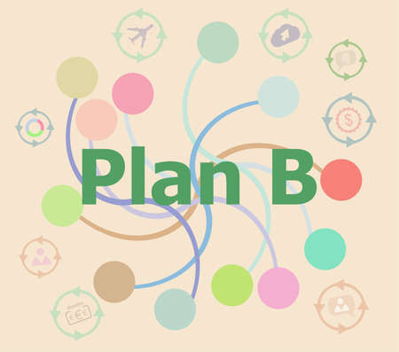 The word plan b on digital screen, business concept . Futuristic graphic user interface Stock Photo