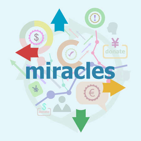 Text Miracles. Social concept. Abstract infographics options template. Can be used for workflow layout, diagram.