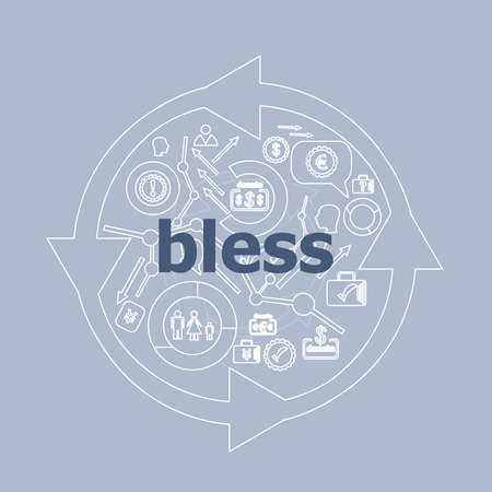 Text Bless. Social concept . Icon and button set
