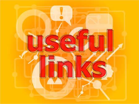 Text useful links on digital background. Information concept . Big set of infographics elements
