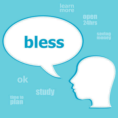 Text Bless. Social concept . Silhouette of a head with speech bubble Stock Photo