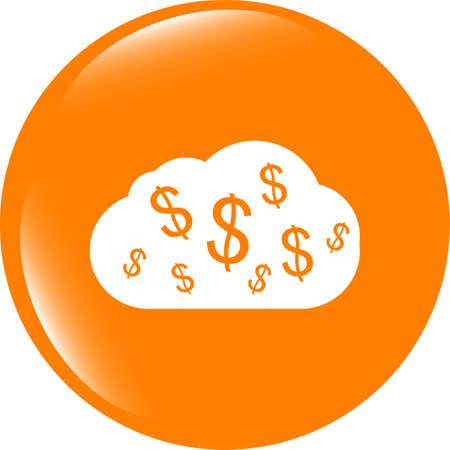 web icon cloud with dollars sign . Trendy flat style sign isolated on white background Banque d'images