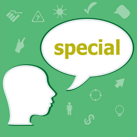 Text Special on digital background. Education concept . Head with speech bubble