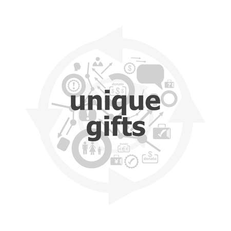 unique gifts text on digital touch screen. social concept . Icon and button set