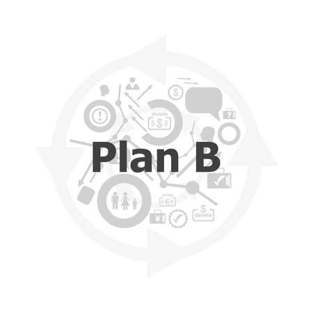 The word plan b on digital screen, business concept . Icon and button set