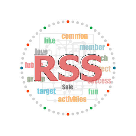 Text Rss. web design concept . Word collage with different association terms 版權商用圖片