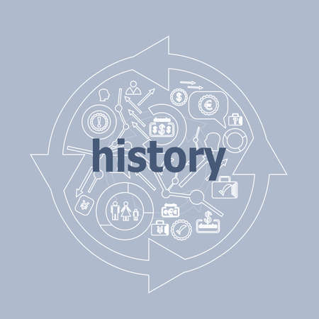 Text History. Time concept . Icon and button set