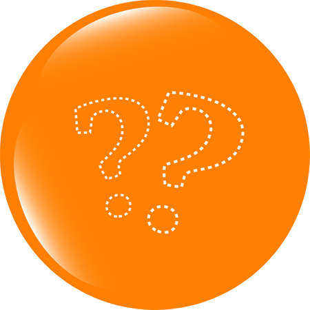 Stylish web button with question mark . Flat sign isolated on white background Imagens
