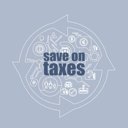 Text Save on taxes. Business concept . Icon and button set