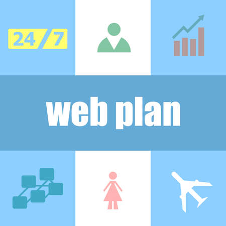 words web plan. Business concept . Infographic dashboard ui interface template Foto de archivo