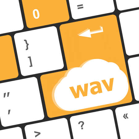 wav word on keyboard keys button. laptop enter icon