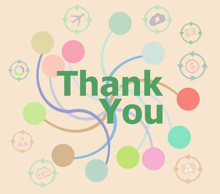 Text thank you on digital screen, social concept . Futuristic graphic user interface Stock Photo