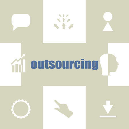 Text Outsourcing. Business concept . Infographic Elements. Business icon set