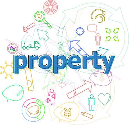 Text Property. Protection concept . Simple infographics thin line icons set Фото со стока