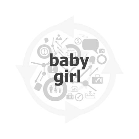 baby girl text on digital touch screen. social concept . Icon and button set