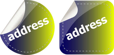 address word stickers set, icon button, business concept Stockfoto