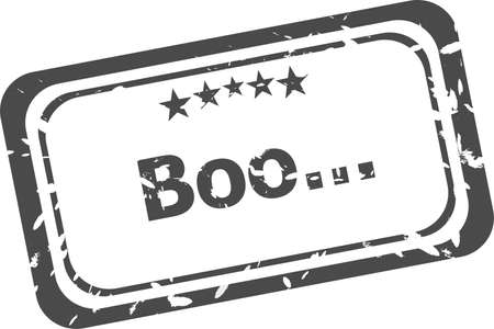 boo grunge rubber stamp isolated on white background