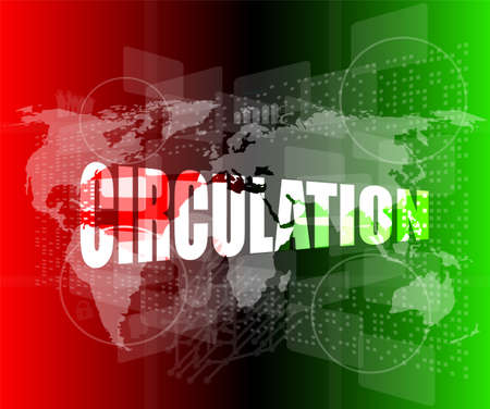 circulation word on business digital touch screen Imagens