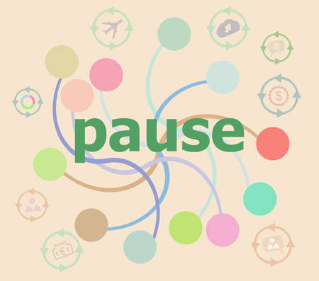 Pause word on digital background. Time concept . Futuristic graphic user interface
