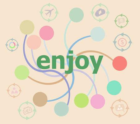 Text Enjoy on digital screen. business concept . Futuristic graphic user interface Фото со стока