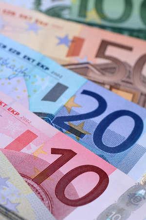 Several euro banknotes. European money concept. Close up